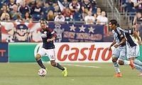 Foxborough, Massachusetts - September 3, 2014: In a Major League Soccer (MLS) match, the New England Revolution (blue/white) defeated Sporting Kansas City (light blue), 3-1, at Gillette Stadium.