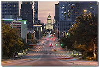 I have to shoot the Texas Capitol from Congress in the early morning hours of a weekend. Traffic is a little too hazardous to try otherwise (at least for me). Congress Avenue, the street in this photo, leads across Zilker Park and straight to the capitol building.