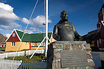 Statue of Jorgen CF Olsen, one of the founders of home rule government in Greenland, near the museum in Sisimiut, the second largest town in Greenland