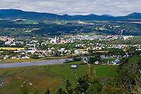 The Riviere Du Gouffre river, a farm and the city of Baie St-Paul are pictured September 4, 2008.