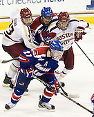 Patrick Brown (BC - 23), Riley Wetmore (UML - 16), Brooks Dyroff (BC - 14) - Zack Kamrass (UML - 27) - The Boston College Eagles defeated the visiting University of Massachusetts Lowell River Hawks 6-3 on Sunday, October 28, 2012, at Kelley Rink in Conte Forum in Chestnut Hill, Massachusetts.
