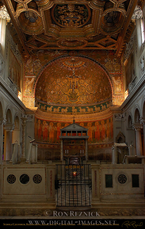 6th century Schola Cantorum and Baldachino 12th century Apse Mosaics 18th century Gilded Coffered Ceiling San Clemente Rome