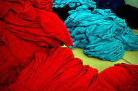 Dyed cloths at Prem Industry's dyeing factory in Tirupur, Tamilnadu. After lifting of quota system in textile export on 1st january 2005. Tirupur has become the biggest foreign currency earning town of India.