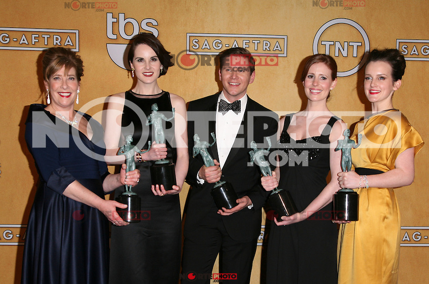 LOS ANGELES, CA - JANUARY 27: The Cast of Downton Abbey in the press room at The 19th Annual Screen Actors Guild Awards at the Los Angeles Shrine Exposition Center in Los Angeles, California. January 27, 2013. Credit: mpi27/MediaPunch Inc. /NortePhoto /NortePhoto