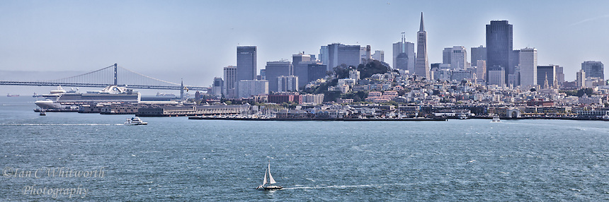 A panoramic view of the city of San Francisco from Alcatraz Island.