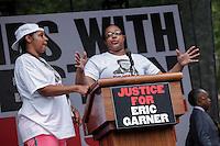 Eric Garner's widow, Esaw Garner and Emerald Garner ( R ) attend rally for the first anniversary of the death of Eric Garner in Brooklyn New York 07/18/2015. Kena Betancur/VIEWpress