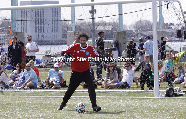 Celebs - Survivor Winner Ethan Zohn (founder of Grassroots) and more participated in NYFEST - a celebrity soccer tournament lasting all day on April 19, 2014 at Pier 5, Brooklyn Bridge Park, Brooklyn, New York.  (Photo by Sue Coflin/Max Photos)