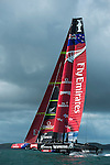 Emirates Team New Zealand AC72 foiling in the Hauraki Gulf, Auckland on the fifth day of testing. 6/9/2012