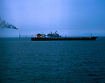 Oil tanker and drilling platform in the North sea off Norway 1975