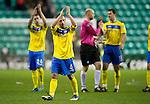 Hibs v St Johnstone...21.01.12.Jody Morris applauds the saints fans.Picture by Graeme Hart..Copyright Perthshire Picture Agency.Tel: 01738 623350  Mobile: 07990 594431