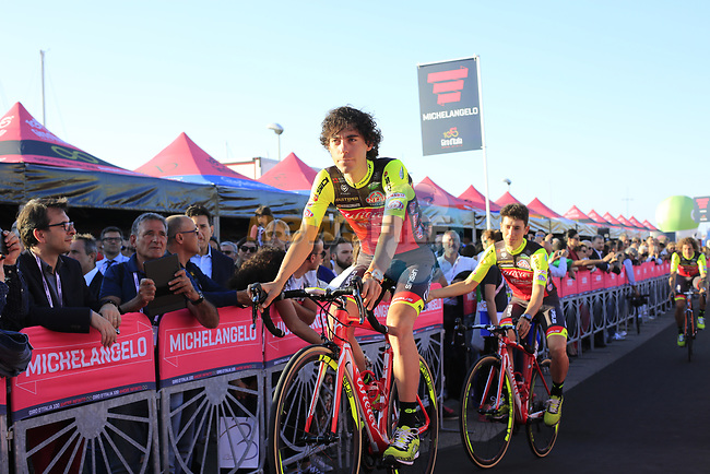 Wilier Triestina-Selle Italia at the Team Presentation in Alghero, Sardinia for the 100th edition of the Giro d'Italia 2017, Sardinia, Italy. 4th May 2017.<br /> Picture: Eoin Clarke | Cyclefile<br /> <br /> <br /> All photos usage must carry mandatory copyright credit (&copy; Cyclefile | Eoin Clarke)