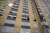 The empty massive NYCHA Prospect Plaza housing project  complex in the OceanHill-Brownsville neighborhood of Brooklyn in New York on Sunday, May 19, 2013. The 1500 tenants were removed in 2001 when the NYC Housing Authority planned to renovate the apartments in the four buildings. The buildings have been empty since then as NYCHA finally decides to tear down the buildings this year after determining that rebuilding is more economically feasible that renovating. The buildings have been vacant for over twelve years although one was torn down in 2005 for small scale affordable housing. (© Richard B. Levine)