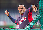 4 April 2014: Atlanta Braves Manager Fredi Gonzalez tosses batting practice prior to the Washington Nationals Home Opening Game at Nationals Park in Washington, DC. The Braves edged out the Nationals 2-1 in their first meeting of the 2014 MLB season. Mandatory Credit: Ed Wolfstein Photo *** RAW (NEF) Image File Available ***