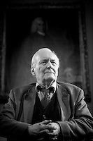 Former Labour MP and minister Tony Benn prepares to give an audience at the Bath Literary festival.