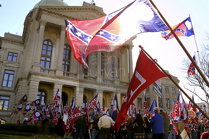 A protest against the changing of the Georgia state flag.
