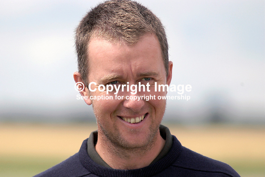 Mark Foster, professional golfer, England, UK. Taken at Nissan Irish Open, Portmarnock Golf Club, Ireland, in July 2003. Ref: 200307232659...Copyright Image from Victor Patterson, 54 Dorchester Park, Belfast, UK, BT9 6RJ..Tel: +44 28 9066 1296.Mob: +44 7802 353836.Voicemail +44 20 8816 7153.Skype: victorpattersonbelfast.Email: victorpatterson@mac.com.Email: victorpatterson@ireland.com (back-up)..IMPORTANT: If you wish to use this image or any other of my images please go to www.victorpatterson.com and click on the Terms & Conditions. Then contact me by email or phone with the reference number(s) of the image(s) concerned.