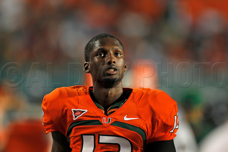 Miami's quarterback Jacory Harris on the sideline at the end of the fourth quarter during the University of Miami vs Florida State University on Saturday October 9, 2010.