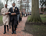 Brothers of Alpha Phi Alpha Fraternity Inc. lead the Martin Luther King Jr. Silent March across College Green on Jan. 16, 2017.