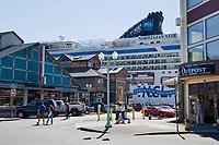 Downtown Ketchikan Alaska during the summer tourism season.