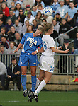1 December 2006: UCLA's McCall Zerboni (6) and North Carolina's Ali Hawkins (76) challenge for a header. The University of North Carolina Tarheels defeated the University of California Los Angeles Bruins 2-0 at SAS Stadium in Cary, North Carolina in an NCAA Division I Women's College Cup semifinal game.