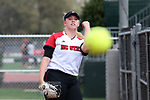 RALEIGH, NC - MARCH 29: NC State's Peyton Silverman warms up before the game in the bull pen. The North Carolina State University Wolfpack hosted the Liberty University Flames on March 29, 2017, at Dail Softball Stadium in Raleigh, NC in a Division I College Softball game. Liberty won the game 5-3.