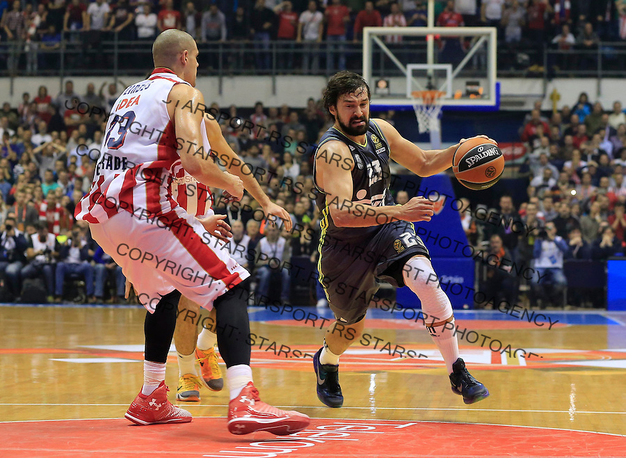 Kosarka Euroleague season 2015-2016<br /> Euroleague <br /> Crvena Zvezda v Real Madrid<br /> Sergio Llull and Maik Zirbes (L)<br /> Beograd, 27.11.2015.<br /> foto: Srdjan Stevanovic/Starsportphoto &copy;