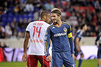 Thierry Henry (14) of the New York Red Bulls and David Beckham (23) of the Los Angeles Galaxy get ready for a corner kick. The New York Red Bulls defeated the Los Angeles Galaxy 2-0 during a Major League Soccer (MLS) match at Red Bull Arena in Harrison, NJ, on October 4, 2011.