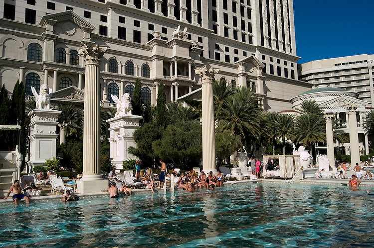 Nevada, NV, Las Vegas, city, swimming pool at Caesars Palace and Casino, no model release, sunny, Photo nv289-17148..Copyright: Lee Foster, www.fostertravel.com, 510-549-2202,lee@fostertravel.com
