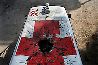 Tyr, Lebanon, Aug 4 2006.Two Lebanese Red Cross ambulances were targeted by Israeli missiles near Qana, killing 2 patients onboard and wonunding two others seriously. The pilot obviously targeted the red cross painted on the roof, for what appears to be a deliberate war crime, according to the Geneva convention..