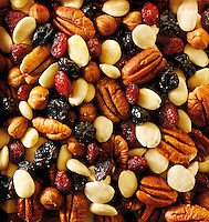 Fruit and nut mix - pecans, almonds, raisons and dried cranberry. Food photos
