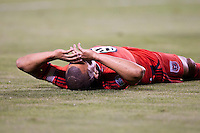 CARSON, CA – June 3, 2011: DC United forward Charlie Davies (9) lies on the pitch disappointed about missing a shot on goal  during the match between LA Galaxy and DC United at the Home Depot Center in Carson, California. Final score LA Galaxy 0, DC United 0.