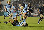 Tom James is bought down by the Glasgow defence. Cardiff Blues V Glasgow Warriors, Magners league. © Ian Cook IJC Photography iancook@ijcphotography.co.uk www.ijcphotography.co.uk