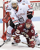 Drew Daniels (Northeastern - 24), Joe Whitney (BC - 15) - The Northeastern University Huskies defeated the visiting Boston College Eagles 2-1 on Saturday, February 19, 2011, at Matthews Arena in Boston, Massachusetts.