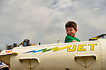 Brooklyn, New York, USA. 10th August 2013. A young boy enjoys a children's Jet ride at Luna Park, during the 3rd Annual Coney Island History Day celebration.