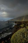 Rainbows over rocky coastline, Roques del Samor,El Hierro, Canary Islands, Spain.