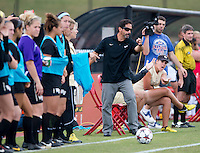 Wake Forest head coach Tony da Luz yells to his team during the game at Ludwig Field in College Park, MD.  Maryland defeated Wake Forest, 1-0.