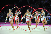 September 24, 2011; Montpellier, France;  (L-R) ANZHELIKA SAVRAYUK, ELISA BIANCHI, ELISA SANTONI,   ROMINA LAURITO, ANDREEA STEFANESCU of Italian group perform with 3-ribbons + 2-hoops on way to winning gold in the groups all around final at 2011 World Championships.