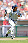 17 June 2006: Robinson Cano, second baseman for the New York Yankees, hustles to first after hitting a double against the Washington Nationals at RFK Stadium, in Washington, DC. The Nationals overcame a seven run deficit to win 11-9 in the second game of the interleague series...Mandatory Photo Credit: Ed Wolfstein Photo...