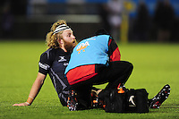 Evan Olmstead of Newcastle Falcons is treated for an injury. Aviva Premiership match, between Newcastle Falcons and Bath Rugby on January 6, 2017 at Kingston Park in Newcastle upon Tyne, England. Photo by: Patrick Khachfe / Onside Images
