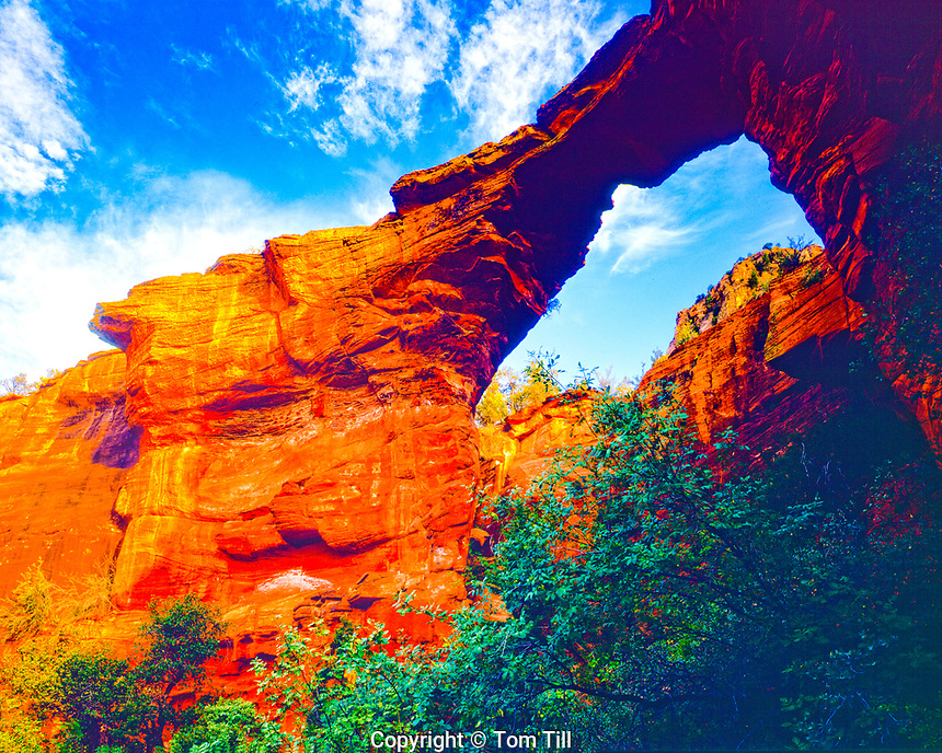 Devils Bridge, Red Rock Secret Mountain Wilderness, Arizona, Natural sandstone arch, evening, Near Sedona, Oak Creek Canyon, June