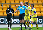 St Johnstone v Kilmarnock....06.11.10  .Ref Iain Brines intervenes after Killie failed to take a free kick properly.Picture by Graeme Hart..Copyright Perthshire Picture Agency.Tel: 01738 623350  Mobile: 07990 594431