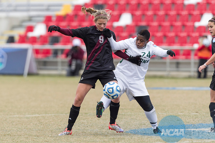 07 DEC 2013:  Midfielder Dineo Mmutla (24) of William Smith College tries to control the ball against midfielder Kelsey Falcone (9) of Trinity (Texas) during the Division III Women's Soccer Championship held at Toyota Park in San Antonio, TX.  William Smith defeated Trinity, 2-0 for the national title.  Rudy Gonzalez/NCAA Photos