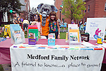09/25/2011 - Medford/Somerville, Mass. - Jumbo poses with guests at Medford Family Network's table at Tufts University's Community Day on Sunday, September 25, 2011. (Everett Wallace for Tufts University)