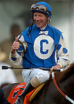 BALTIMORE, MD - Stewart Elliott aboard Smarty Jones on the turf after winning the 2004 Preakness Stakes at Pimlico race track May 15, 2004