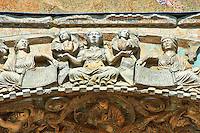 13th century Medieval Romanesque Sculptures from the above the central door of the facade of St Mark's Basilica, Venice, depicting Constancy from the theme Virtues and Beatitudes .