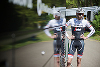 Ryder Hesjedal (CAN/Trek-Segafredo) back at the teambus after the first pre-Giro training ride with Team Trek-Segafredo in Gelderland (The Netherlands)<br /> <br /> 99th Giro d'Italia 2016