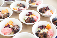 Brooklyn, NY - February 28, 2015: Eatsy's Brisket bowls served for lunch at the Food + Enterprise Conference in Sunset Park's Industry City complex.<br /> <br /> CREDIT: Clay Williams for Edible Brooklyn.<br /> <br /> &copy; Clay Williams / claywilliamsphoto.com