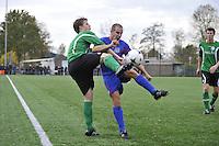 VOETBAL: HEERENVEEN: 07-11-2015, Heerenveense Boys - Zwaagwesteinde, uitslag 2-3, Rene Nauta (#10) scoorde drie keer, Matthijs Bakker (#6), uitslag 2-3, ©foto Martin de Jong