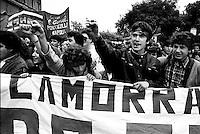 Roma 5 Marzo 1983.Manifestazione nazionale degli  studenti  contro la mafia la camorra e il traffico della droga..Rome, March 5, 1983.National demonstration of students against the Camorra mafia and drug trafficking..