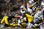 PITTSBURGH, PA - JANUARY 23: Shonn Greene #23 of the New York Jets is stopped at the goal line by the against the Pittsburgh Steelers defense during the fourth quarter in the AFC Championship Playoff Game at Heinz Field on January 23, 2011 in Pittsburgh, Pennsylvania(Photo by: Rob Tringali) *** Local Caption *** Shonn Greene